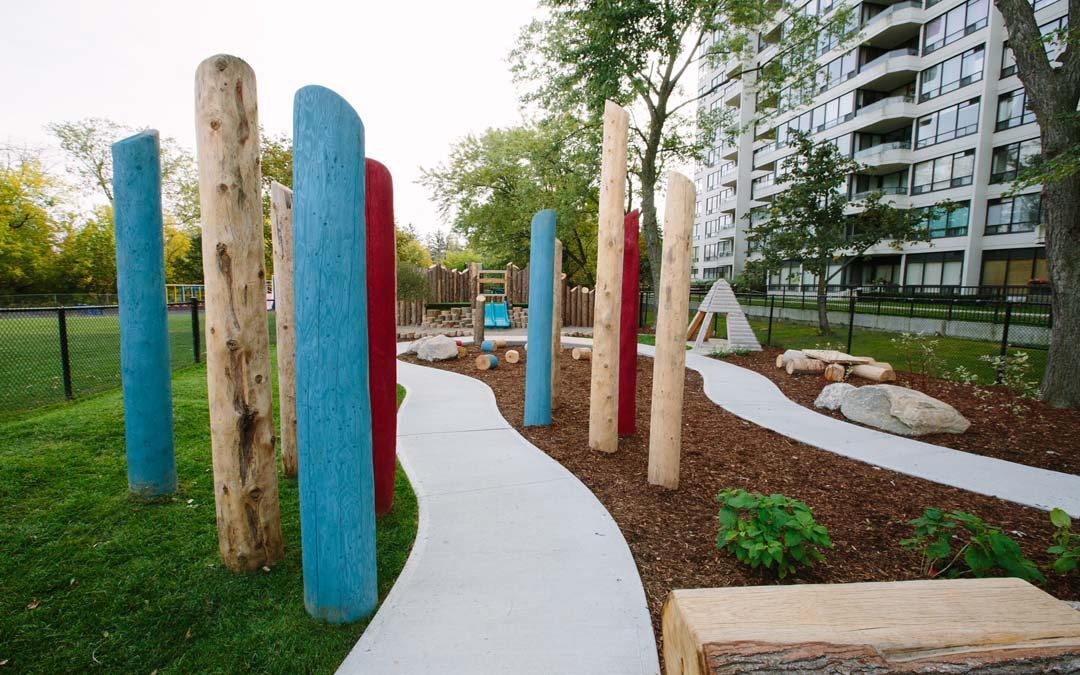 play posts natural playground