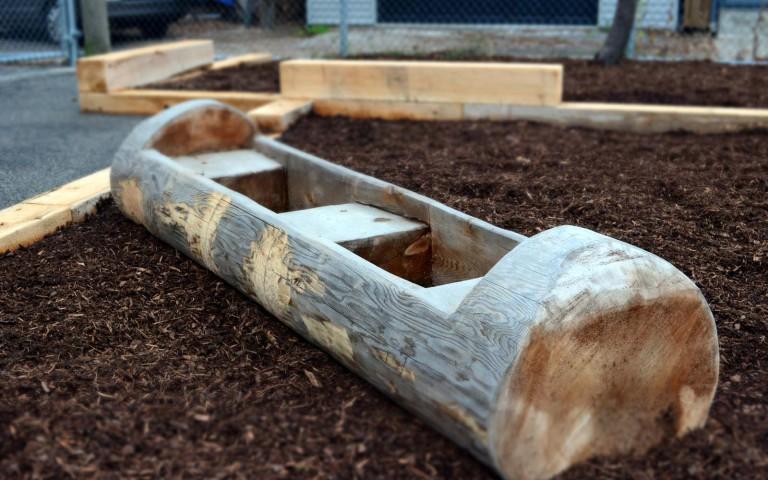Holy Name Catholic School 020 school playground natural tower log fence sand