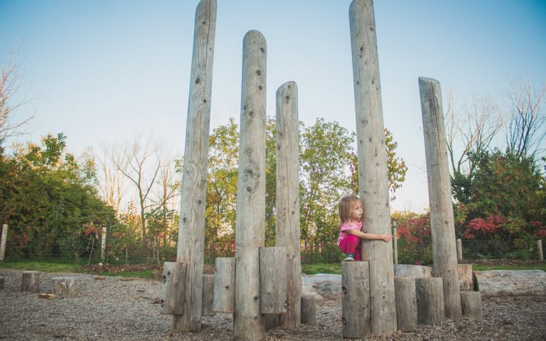 log playground wooden posts play