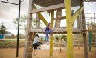 Houston Texas playground custom timber tower