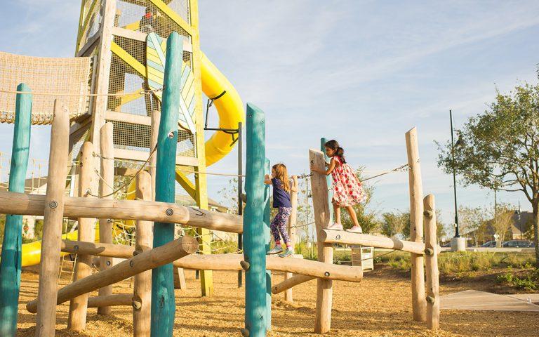 Natural wood tower playground