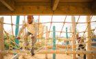 Net climber natural playground tower