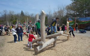 wood playground kitchener small log climber huron play space
