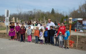 kids and neighbours at the grand opening for kitchener wood playground