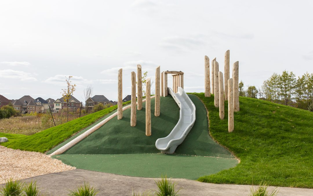 log jam playground themed natural hill slide