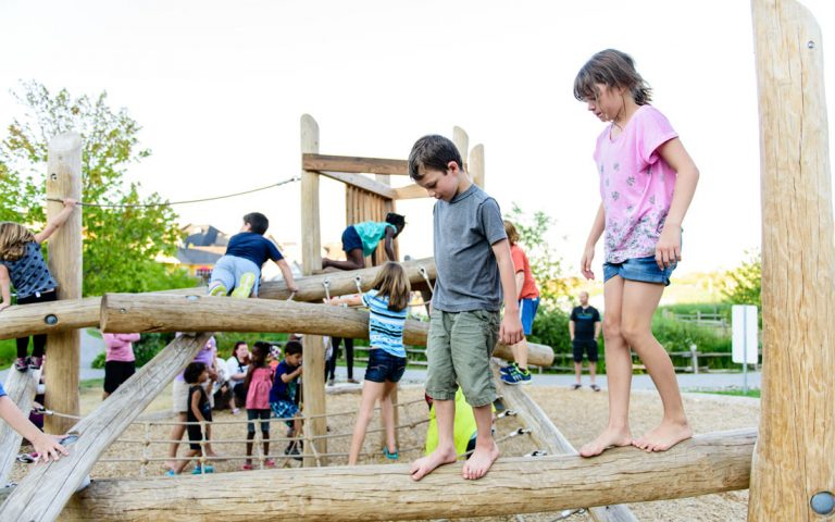 play structure wood log jam