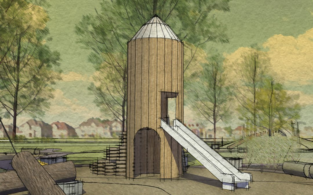 silo barn playground structure themed