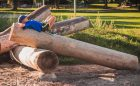 natural fallen log playspace playground