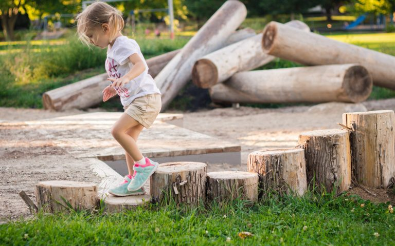 climbing natural playground log edging playspace