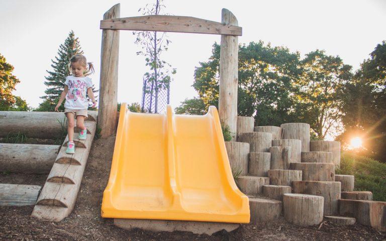 hill slide natural playground climbing