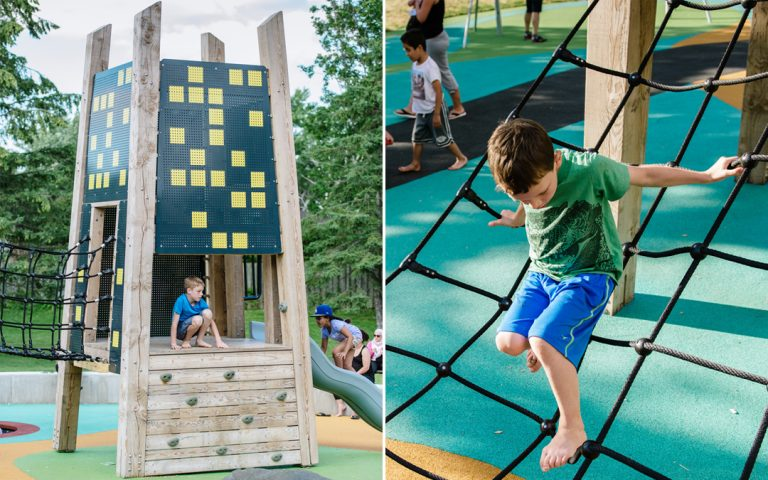 playground net climber tower wood