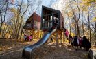 branksome hall playground contemporary tower slide stainless