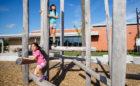 David Hamilton park natural beach summer playground log climber