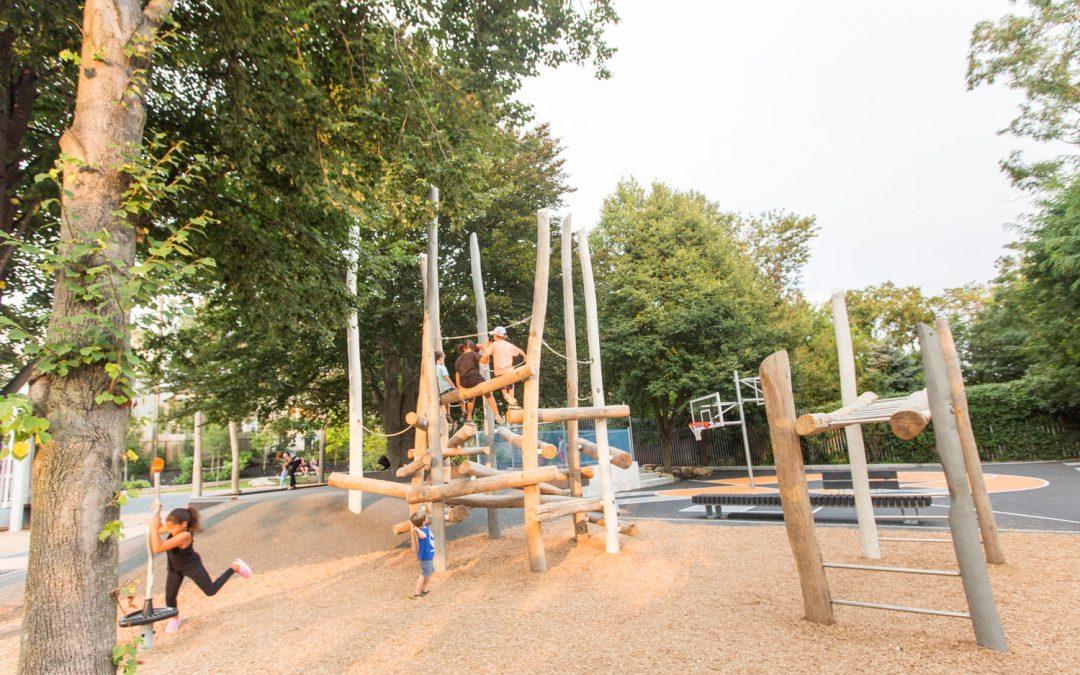 Hoyt Sullivan Somerville MA playground monkey bars log climber