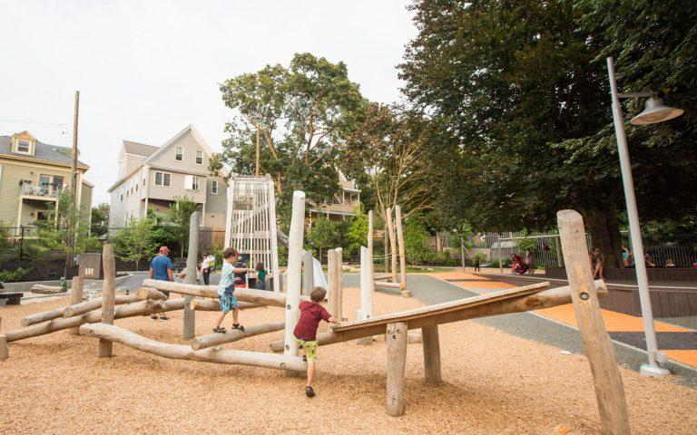 Hoyt Sullivan park playground natural logs climbing risky play