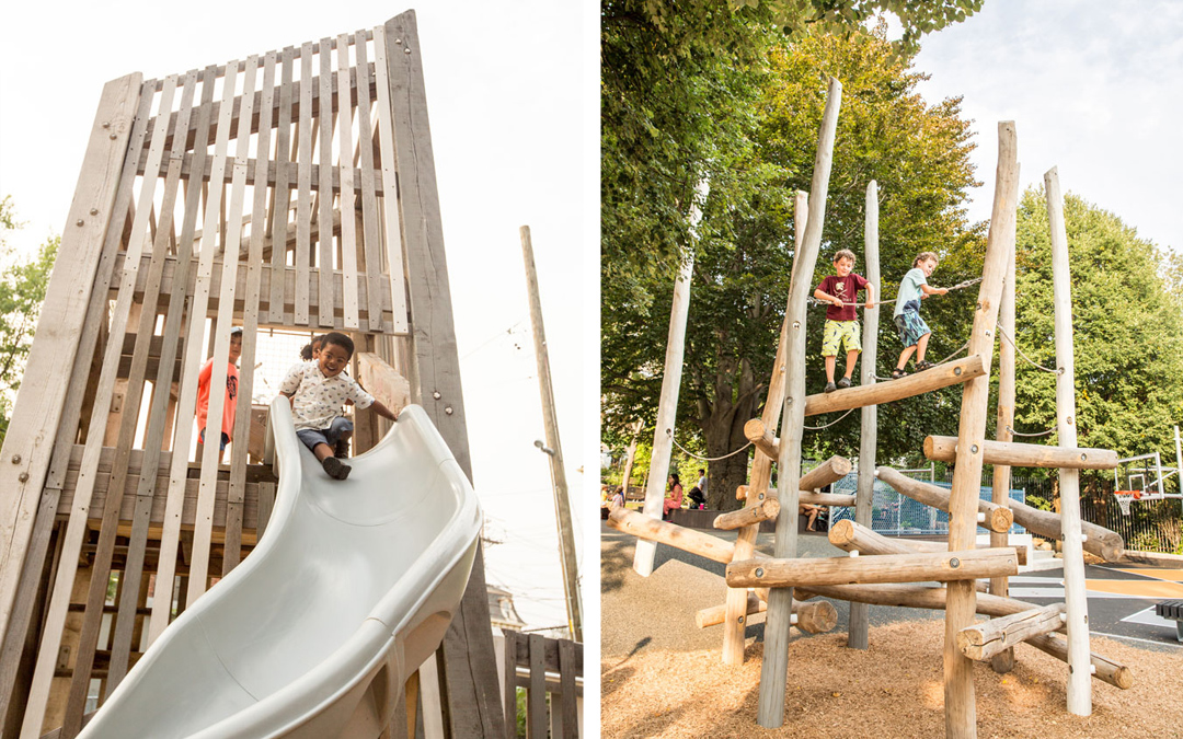 Hoyt Sullivan park playground slide log climbing natural