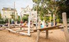 Hoyt Sullivan park playground wood log jam