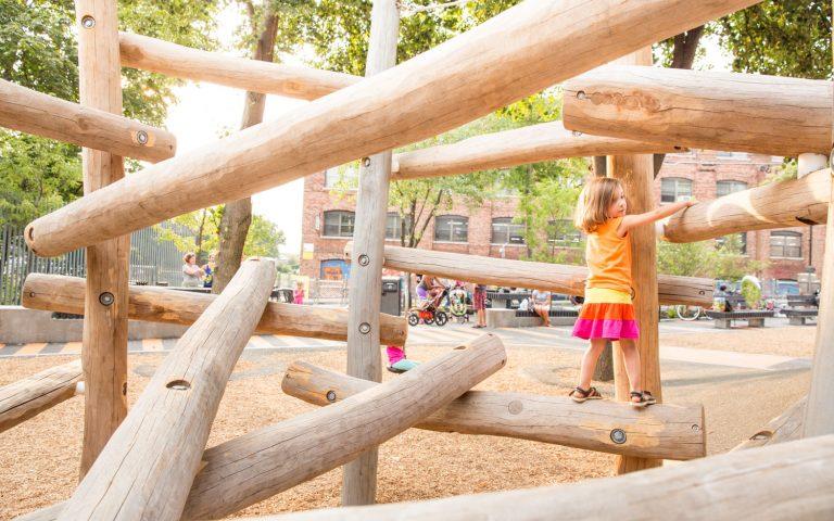 Massachusetts MA natural park playground log jam climber
