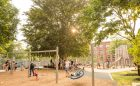 Massachusetts MA natural wood playground swings tower