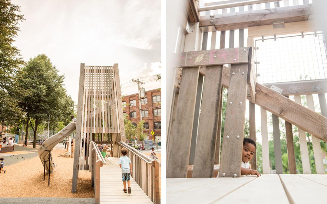 Massachusetts natural playground park tower slide
