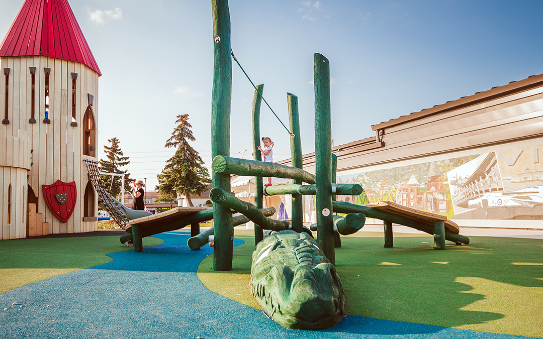 Mississauga Ontario playground dragon log timber climber