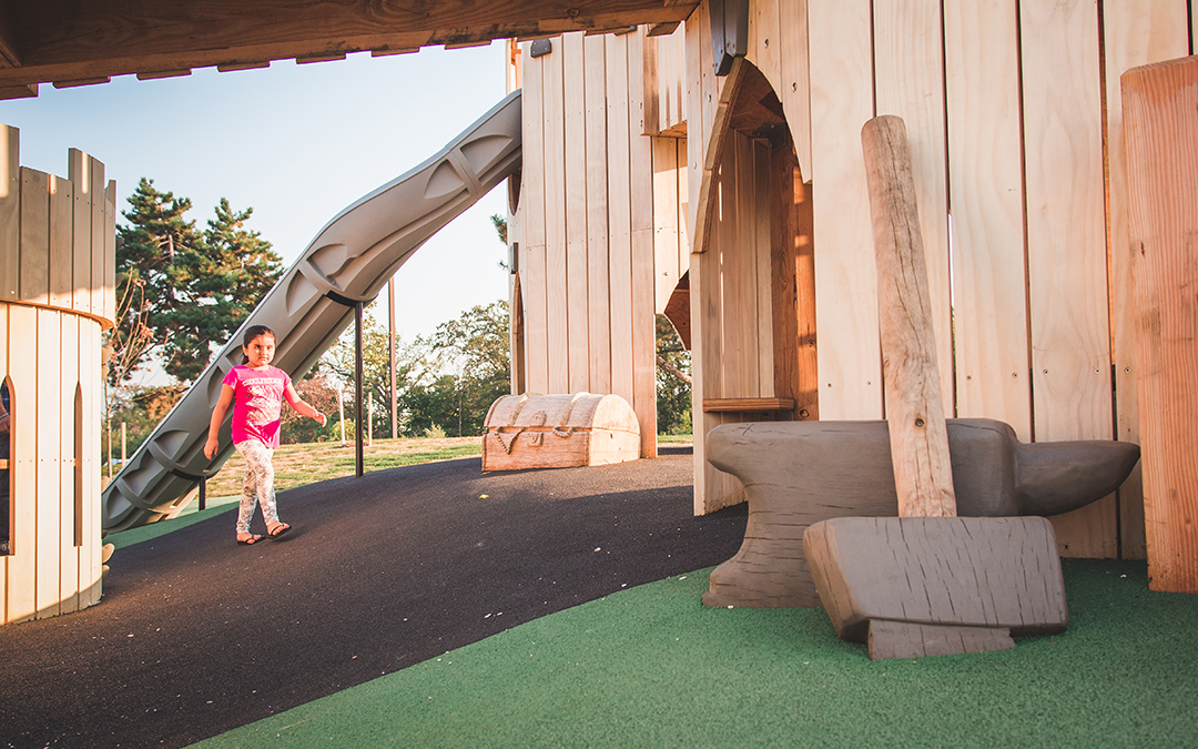 Mississauga playground wood sculptures hammer anvil medieval theme
