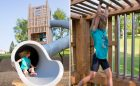 Natural playground climb slide calgary custom tower