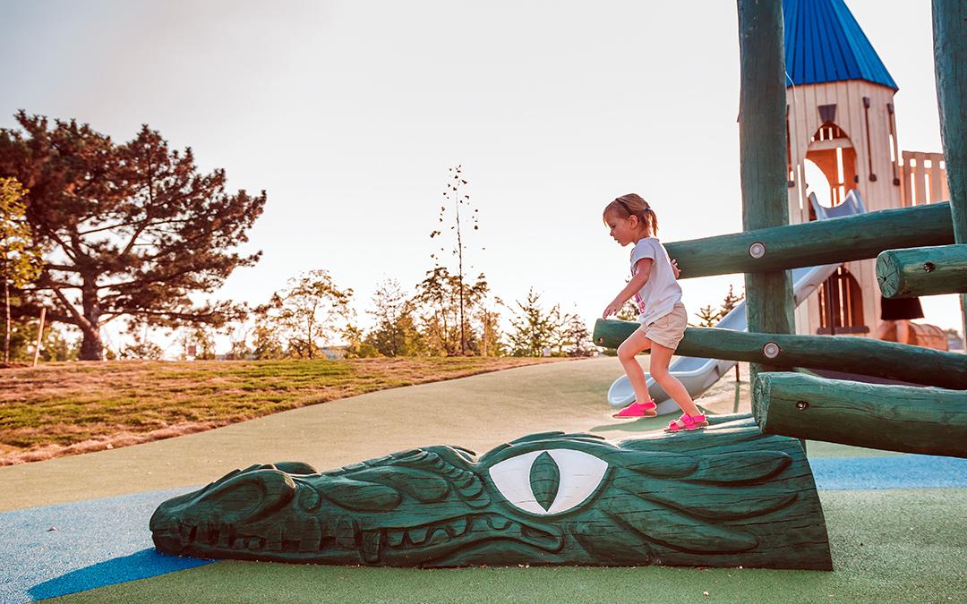 Paul Coffey Park Ontario playground dragon sculpture