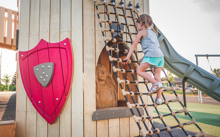 Paul Coffey Park castle tower sculpture shield