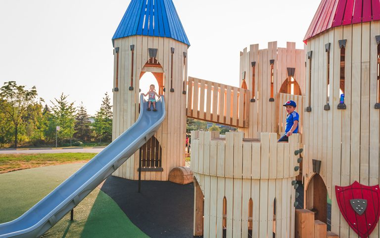 Paul Coffey Park natural play castle towers climbing