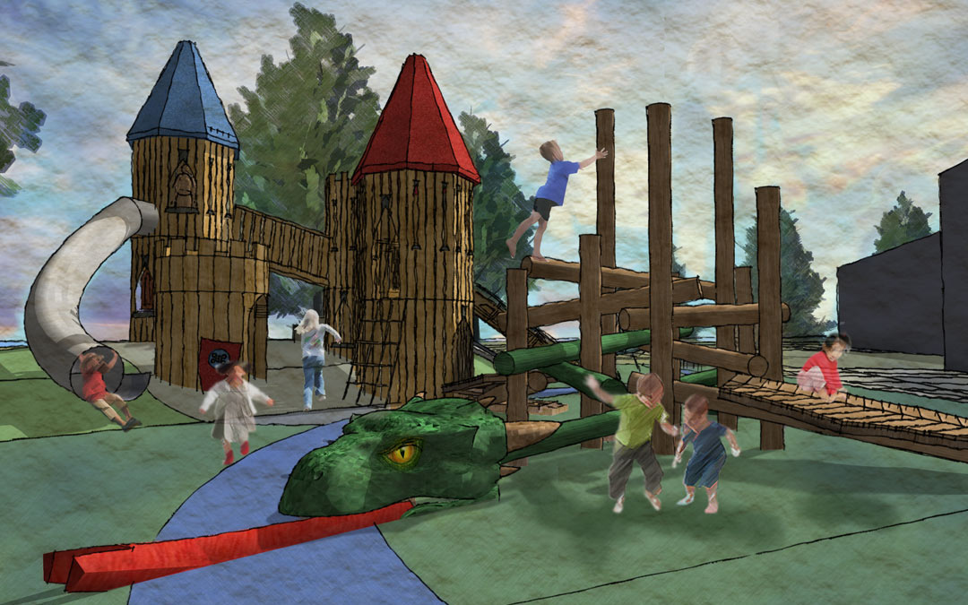 Paul Coffey castle theme sculpture towers dragon log jam playground