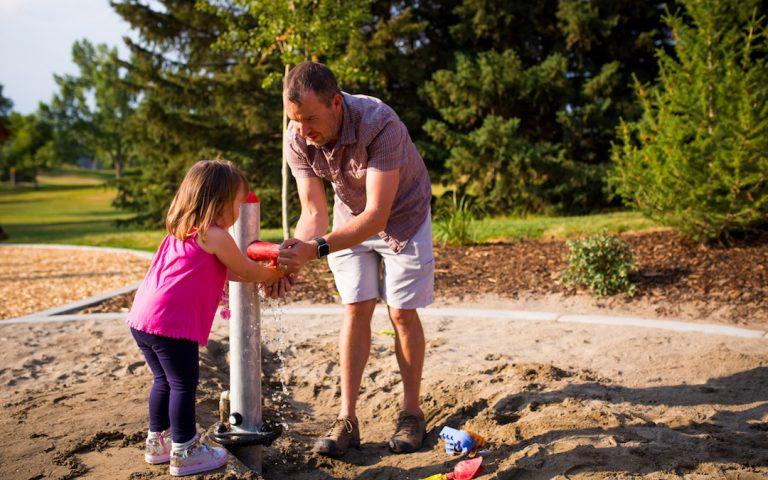 water play natural playground calgary sand