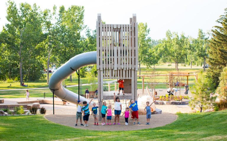 wood custom playground wood structure architecture slide children tower playground