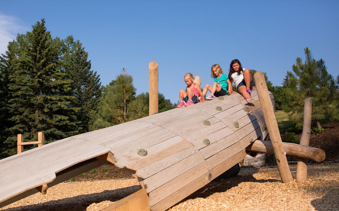 wood sculpture custom natural playground calgary climbing voyageur canoe