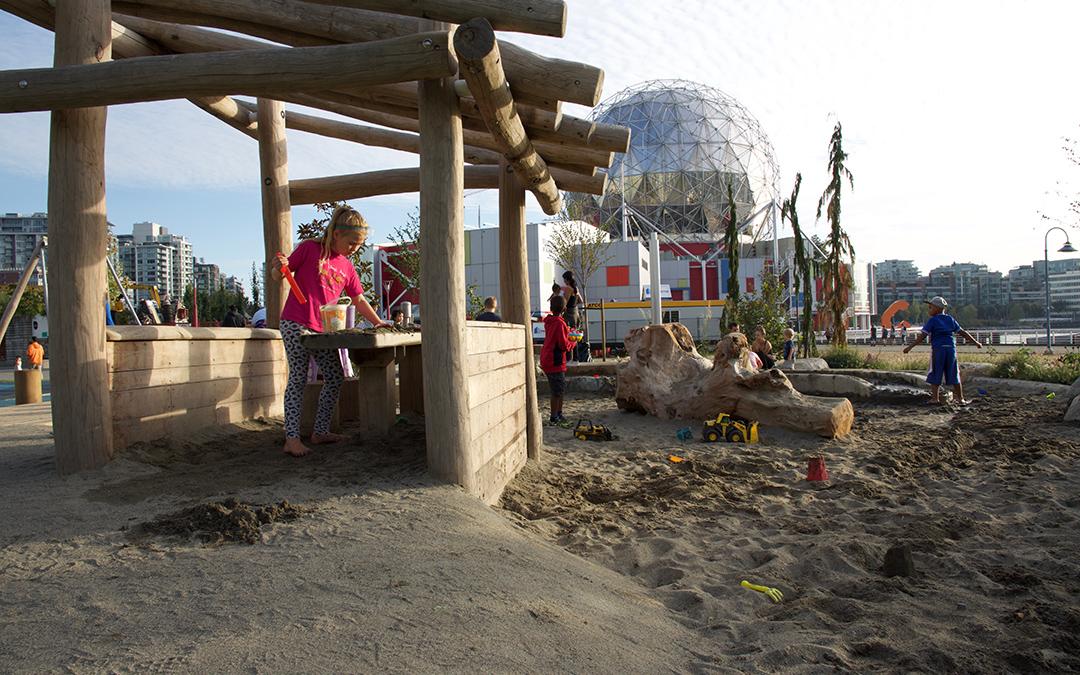british columbia natural playground sand play