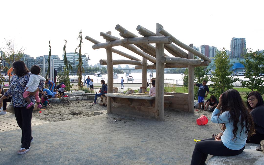 vancouver natural playground log hut sand play