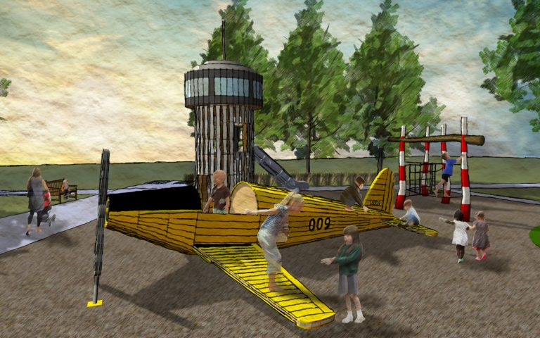 aviation sculpture themed playground toronto downsview