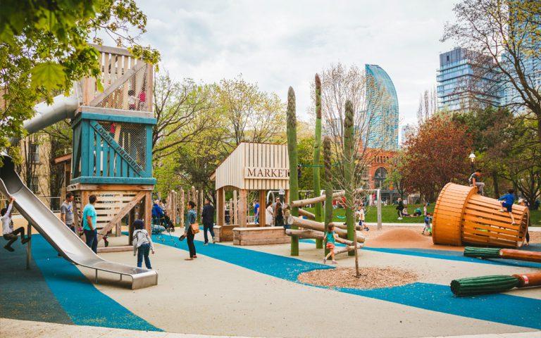 food market themed playground toronto ontario custom wood