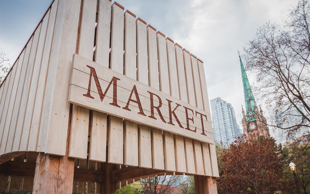market themed playground St. James park Toronto