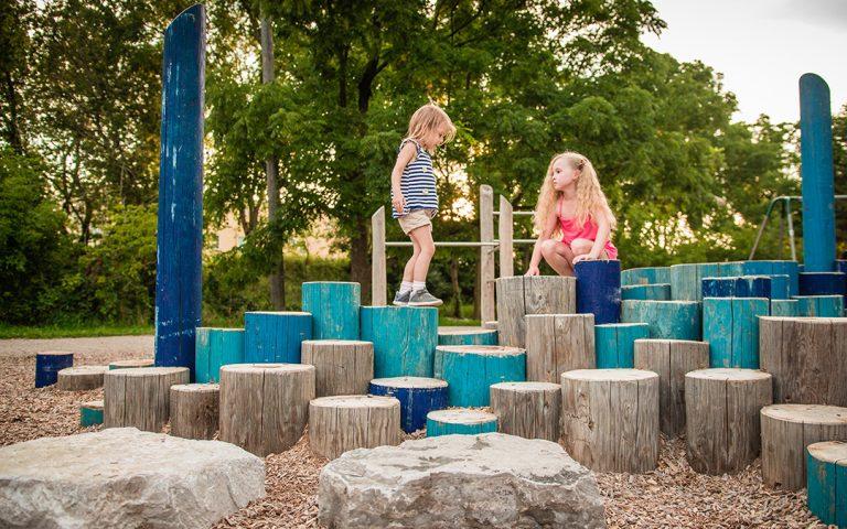 gildner green boulders log natural playground