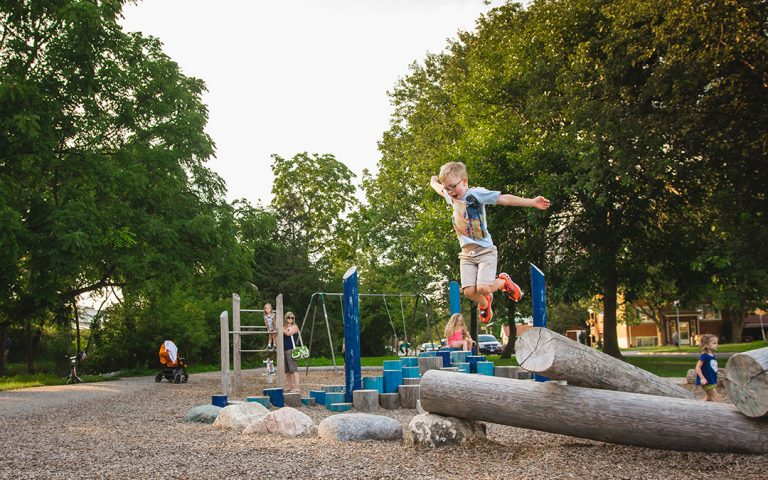 gildner green playground stepper boulders logs