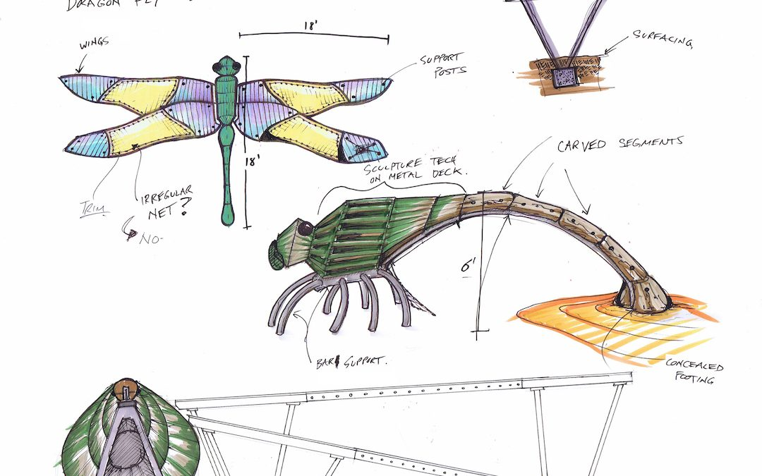 Bridgeland Parkland Dragonfly playground sketch