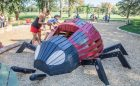 Denver playground wood ladybug sculpture play