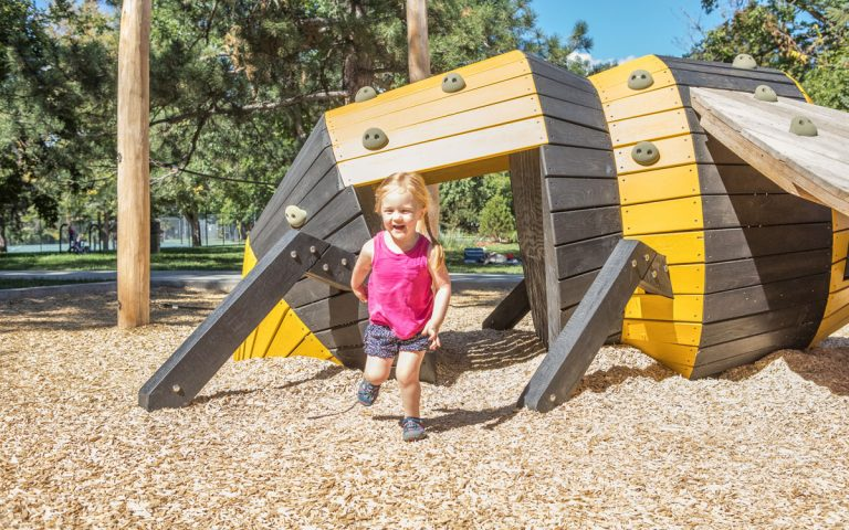 bumblebee tunnel climber wood sculpture playground denver