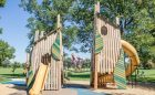 denver colorado playground wood towers leaf slides