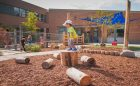 elementary school natural wood logs