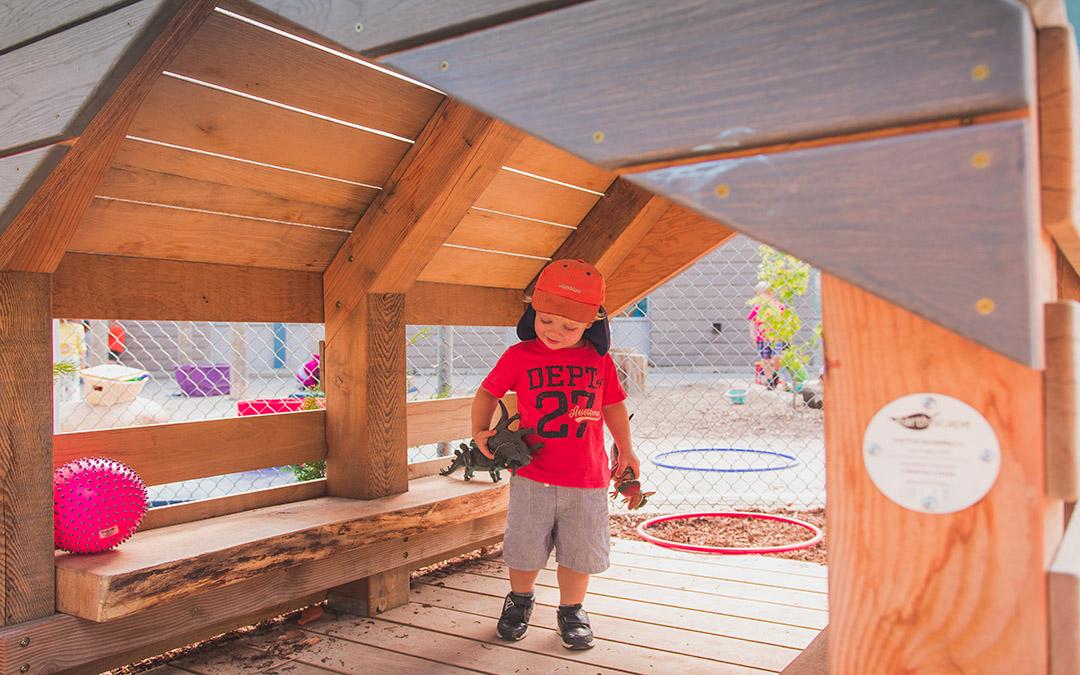 kindergarten natural playground play hut