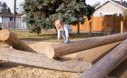 Alberta natural playground log climber