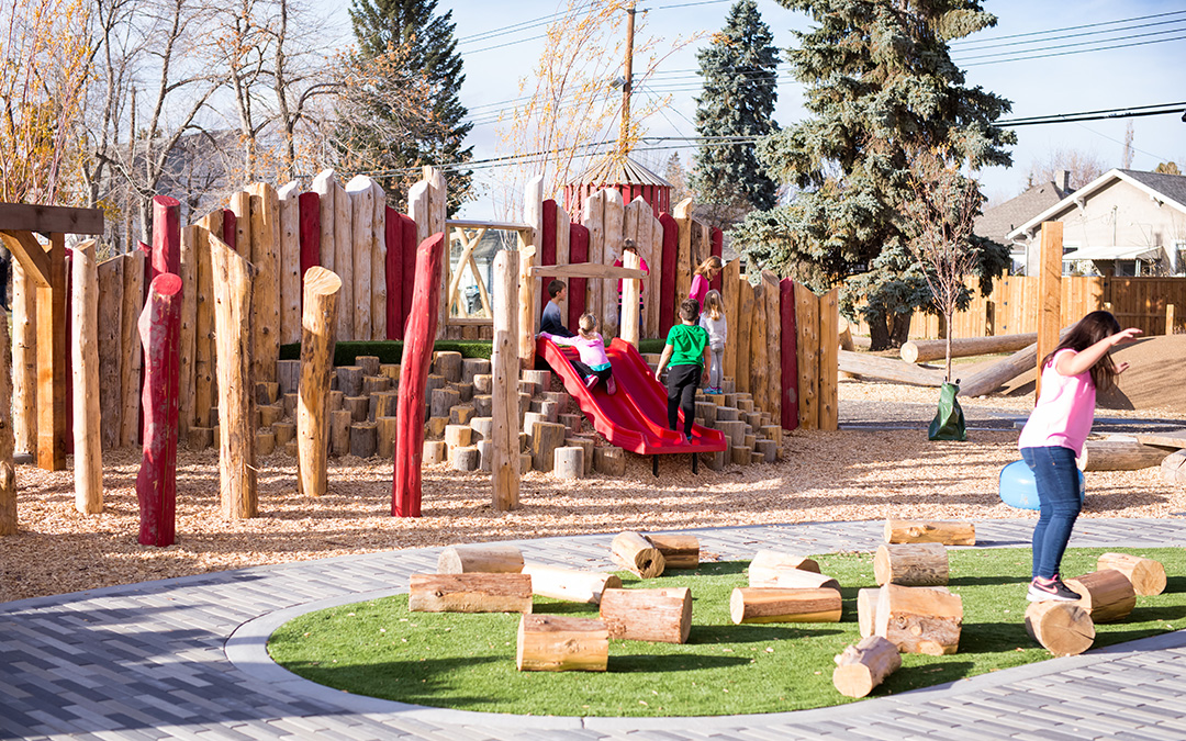Alberta natural playground log play posts steppers