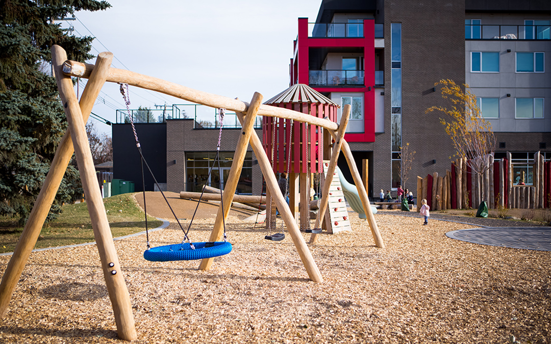 Calgary natural playground swings tower